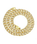 13mm Mens Miami Cuban Link Chain Necklace Full Bling Iced Out CZ Rhinest... - £24.51 GBP