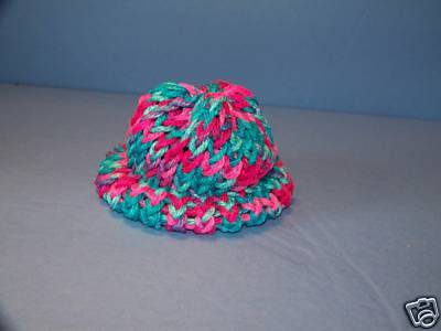 Pink & Blue Knit Cap Hat Sock Monkey/doll NEW Handmade