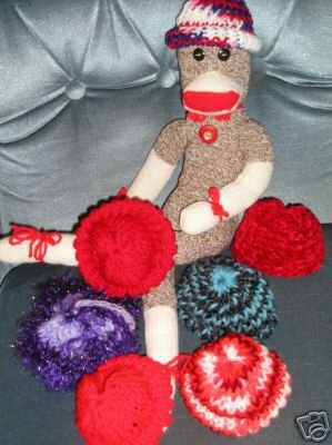 Red-Wht-Blue Knit Cap Hat Sock Monkey/doll NEW Handmade