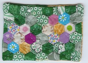 GrandMothers Flower Garden Quilt ACEO Handquilted OOAK