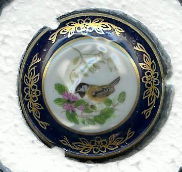 Black capped Chickadee Bird Miniature Franklin Porcelain Plate