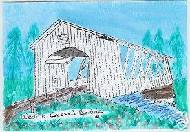 Weddle Covered Bridge OREGON ACEO Hand Decorated