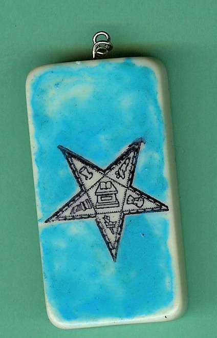 OES Star Masonic Altered Domino Pendant OOAK