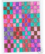 9 Patch quilt ACEO Original bright colorful 1 of kind - $10.00