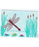 Dragonfly Cat Tails Water lilys Original ACEO cattails - $10.00