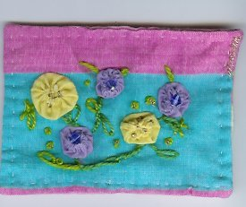 Yo-YO Flowers embroidery Beaded ACEO OOAK Spring Flower