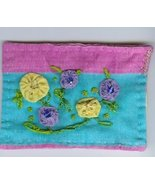 Yo-YO Flowers embroidery Beaded ACEO OOAK Spring Flower - $16.00