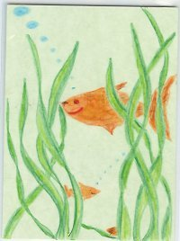Goldfish Swimming Hiding in sea weed OOAK ACEO COA