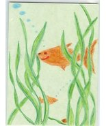 Goldfish Swimming Hiding in sea weed OOAK ACEO COA - $15.00