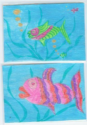 Lippy & Super Fish ACEO's 2 Original drawing/paintings