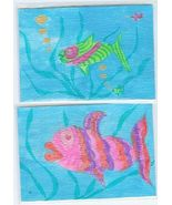 Lippy & Super Fish ACEO's 2 Original drawing/paintings - $20.00