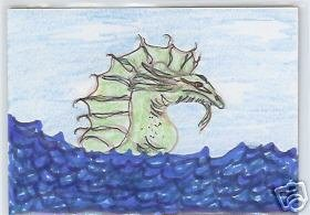 Water Dragon Monster ACEO COA Original OOAK