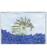 Water Dragon Monster ACEO COA Original OOAK - $15.00