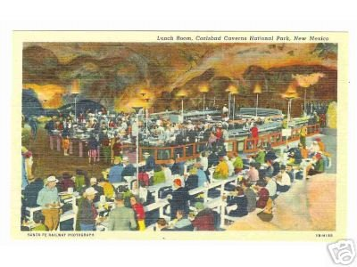 Calsbad Caverns Lunch Room Sante Fe RR Linen Postcard