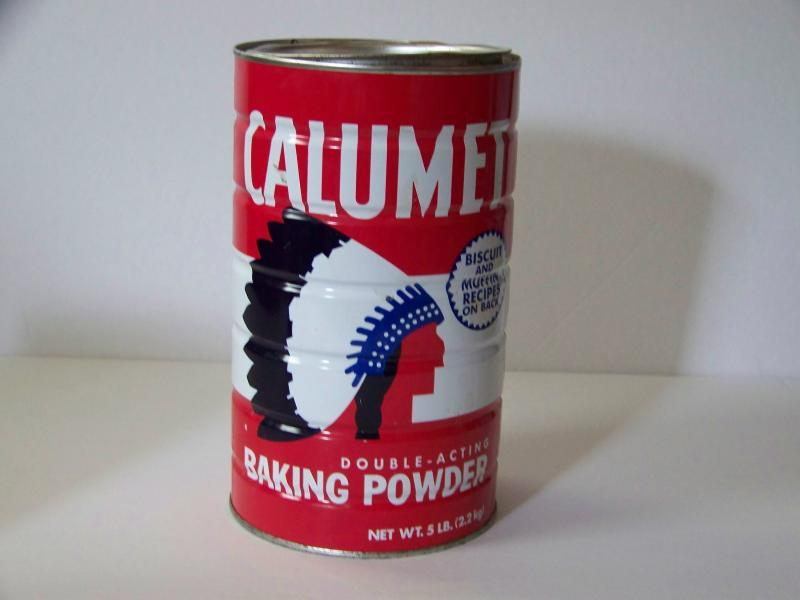 5 pound CALUMET tin Baking Powder Indian