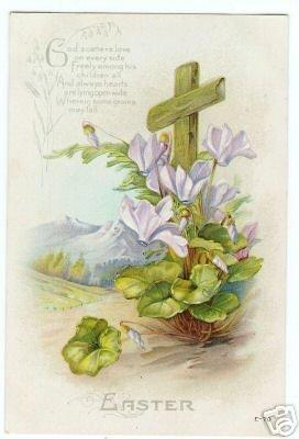 Easter Postcard Vintage embossed Cross Flowers & Verse