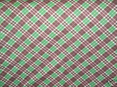 "1 Yard Vintage Cotton Fabric Green_Brown Plaid 35 1/2""w"