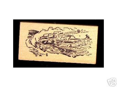 1950's Vintage STOCK Cars Racing rubber stamp Car