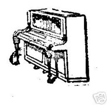 Piano musical Rubber stamp upright - $6.00