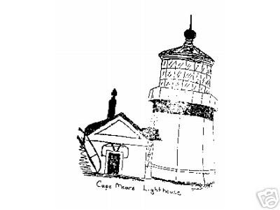 Cape Mears Lighthouse rubber stamp Oregon artist signed