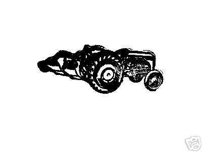 Tractor with Plow Vintage side view rubber stamp