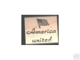 America United with Flag rubber stamp Patriotic - $7.00