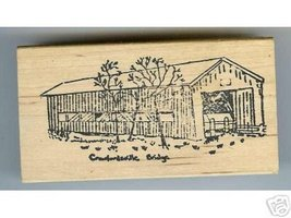 Crawfordsville Covered Bridge Oregon rubber stamp signe - $16.09