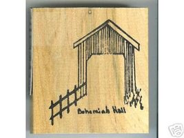 Bohemiah Hall Covered Bridge Oregon rubber stamp signed - $8.00