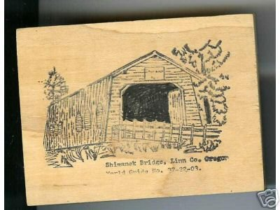 Shimanek Covered Bridge Oregon rubber stamp signed