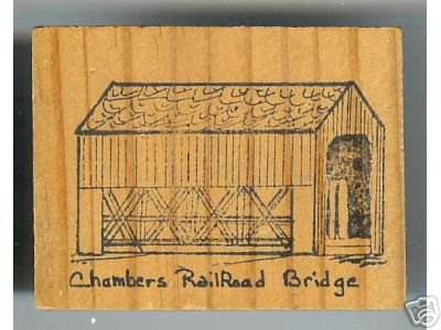 Chambers RR Covered Bridge Oregon rubber stamp signed