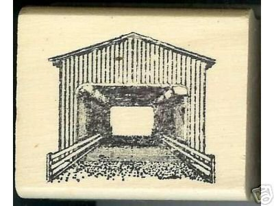 Generic end view Covered Bridge rubber stamp Oregon