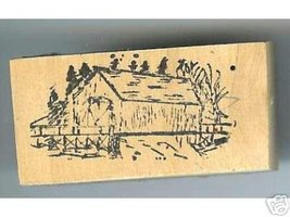 Generic side view Covered Bridge rubber stamp - $5.00