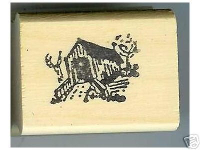 Generic small Covered Bridge rubber stamp facing left