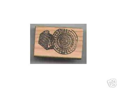 Log Cabin Syrup Tin end of log Rubber Stamp
