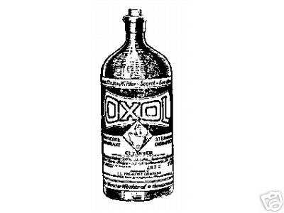 Vintage OXOL cleanser bottle Rubber Stamp advertizing