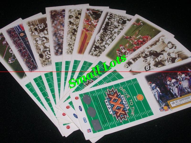 Set Of 10 -- 1995 Shell Drive To The Super Bowl Game Cards ""