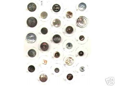Collection 25 different Shell MOP Abalone Buttons card