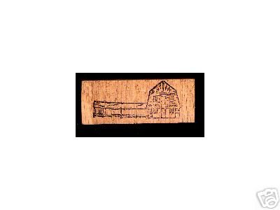 Barn with corral fence rubber stamp