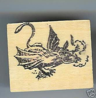 Fire Breathing DRAGON mythical beast Rubber Stamp