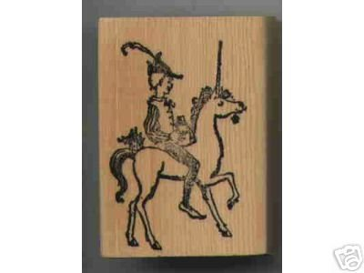 UNICORN with Person Riding Rubber stamp