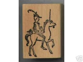 UNICORN with Person Riding Rubber stamp - $7.00