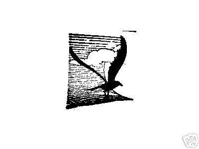 Seagull and clouds rubber stamp bird coastal
