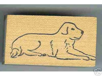 Labrador Dog rubber stamp Retriever laying down