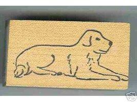 Labrador Dog rubber stamp Retriever laying down - $7.00