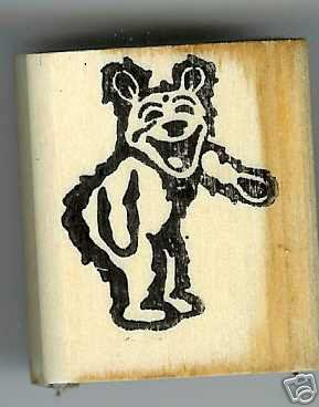 Bear Laughing Pointing to right rubber stamp
