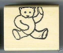 Teddy Bear rubbing belly other paw in air rubber stamp - $7.00