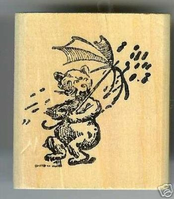 Bear holding Umbrella in the Rain rubber stamp