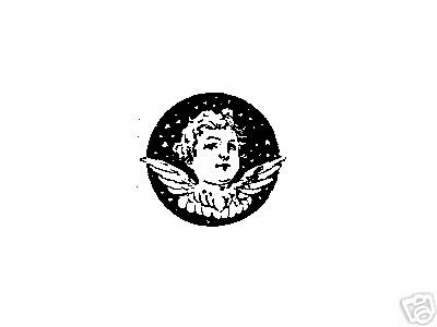 Angel Head in Circle rubber stamp