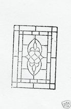 Stained Glass Design with flowers etc Rubber Stamp - $7.00