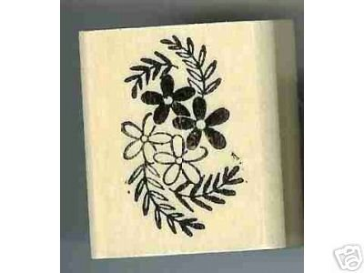 4 flower rubber stamp flowers and greenery leaves